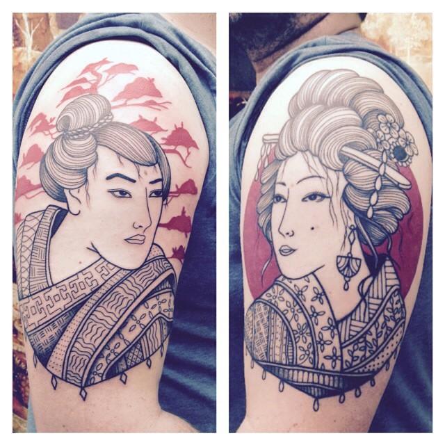 Merci Benoit ! Geisha et samouraï #carolinekarenine #tattoo #ateliermetamorphose