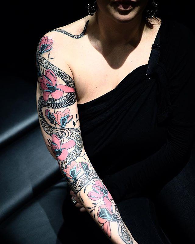 Merci stephanie !  #carolinekarenine #tattoo #snaketattoo